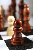 Chess board with chess pieces close-up — Foto de Stock