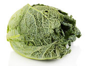 Fresh savoy cabbage isolated on white — Stock Photo