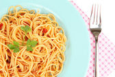 Italian spaghetti in plate close-up — Stock Photo