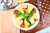 Fresh salad with arugula, close up — Stock Photo