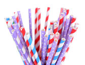 Colorful straws isolated on white — Stock Photo