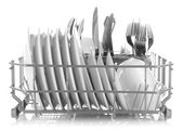 Clean dishes drying on metal dish rack, isolated on white — Zdjęcie stockowe