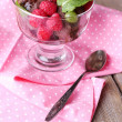Chocolate ice cream with mint leaf and ripe berries in glass bowl, on color wooden background — Stock Photo #49349421