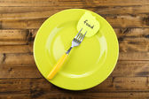 Note paper with message with fork — Stock Photo