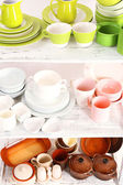 Different tableware on shelf, close up — 图库照片
