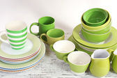 Different tableware on shelf, close up — Stok fotoğraf