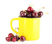 Sweet cherries in mug isolated on white — Stok fotoğraf