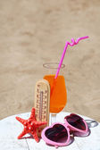 Thermometer in sand close-up — Stock Photo