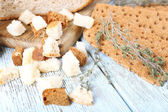 Homemade croutons on table — Stock Photo