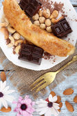 Sweetened fried banana on plate, close-up — Stock Photo