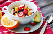 Useful homemade fruit salad, close-up — Stock Photo