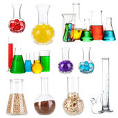 Collage of different laboratory glassware isolated on white — Stock Photo