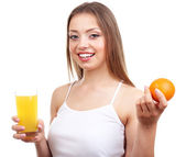Beautiful girl with juice, isolated on white — Stock Photo