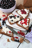 Bread with cottage cheese and berries on plate close-up — Stock Photo