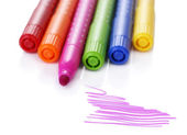 Bright markers isolated on white — 图库照片