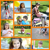 Collage of photo with children playing outside — Stock Photo
