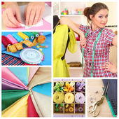 Fashion design collage. Sewing items — Stock Photo
