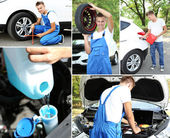 Collage of car mechanic — Stock Photo