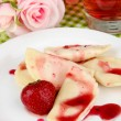 Tasty  sweet dumplings with fresh strawberry on white plate, on bright background — Stock Photo #49453757