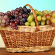 Fresh grape on wicker mat on bright background — Stock Photo #49453813