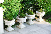 Stone planters with flowers in garden — Foto Stock