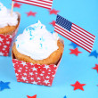American patriotic holiday cupcakes — Stock Photo #49498137