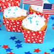 American patriotic holiday cupcakes — Stock Photo #49498141