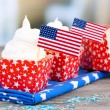 American patriotic holiday cupcakes — Stock Photo #49498159