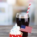 American patriotic holiday cupcake — Stock Photo #49498165