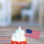 American patriotic holiday cupcake — Stock Photo #49498179