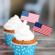 American patriotic holiday cupcakes — Stock Photo #49498185
