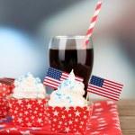 American patriotic holiday cupcake — Stock Photo #49498189