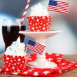American patriotic holiday cupcakes — Stock Photo #49498195