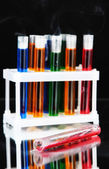 Laboratory test tubes on black background — Stock Photo