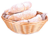 Tasty bagels with sugar powder — Stock Photo