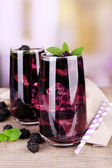 Tasty cool blackberry lemonade with ice — Stock Photo