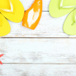 Few summer items on wooden background — Stock Photo #49528199