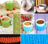 Collage of hot drinks — Stock Photo