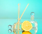 Aromatic sticks for home with fruity odor on blue background — Foto de Stock