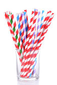 Colorful straws in glass — Stock Photo