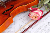 Classical violin on notes — ストック写真