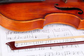 Classical violin on notes — 图库照片