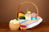 Easter food in wicker basket — Photo
