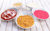 Various sauces on table close-up — Stock Photo