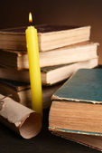 Old books on table on brown background  — Foto de Stock