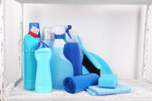Cleaning products on shelf — Stock Photo