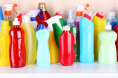 Cleaning products on shelf — Stok fotoğraf