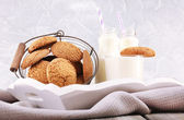 Milk and cookies on table on light grey background — Stock Photo