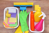 Collection of cleaning products and tools  — Stock Photo
