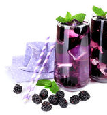 Tasty cool blackberry lemonade with ice, isolated on white — Stock Photo
